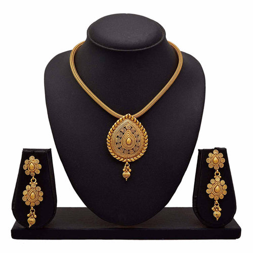 JFL - Traditional & Ethnic One Gram Gold Plated Sprial Designer Pendant Set With Earring for Girls & Women