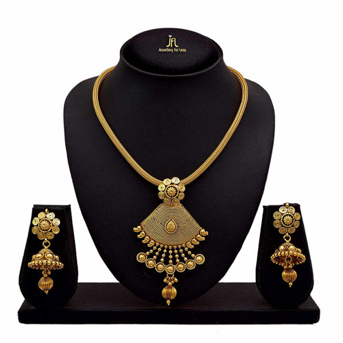 BFC Ethnic Gold Plated Pendant with Chain for Women and Girls