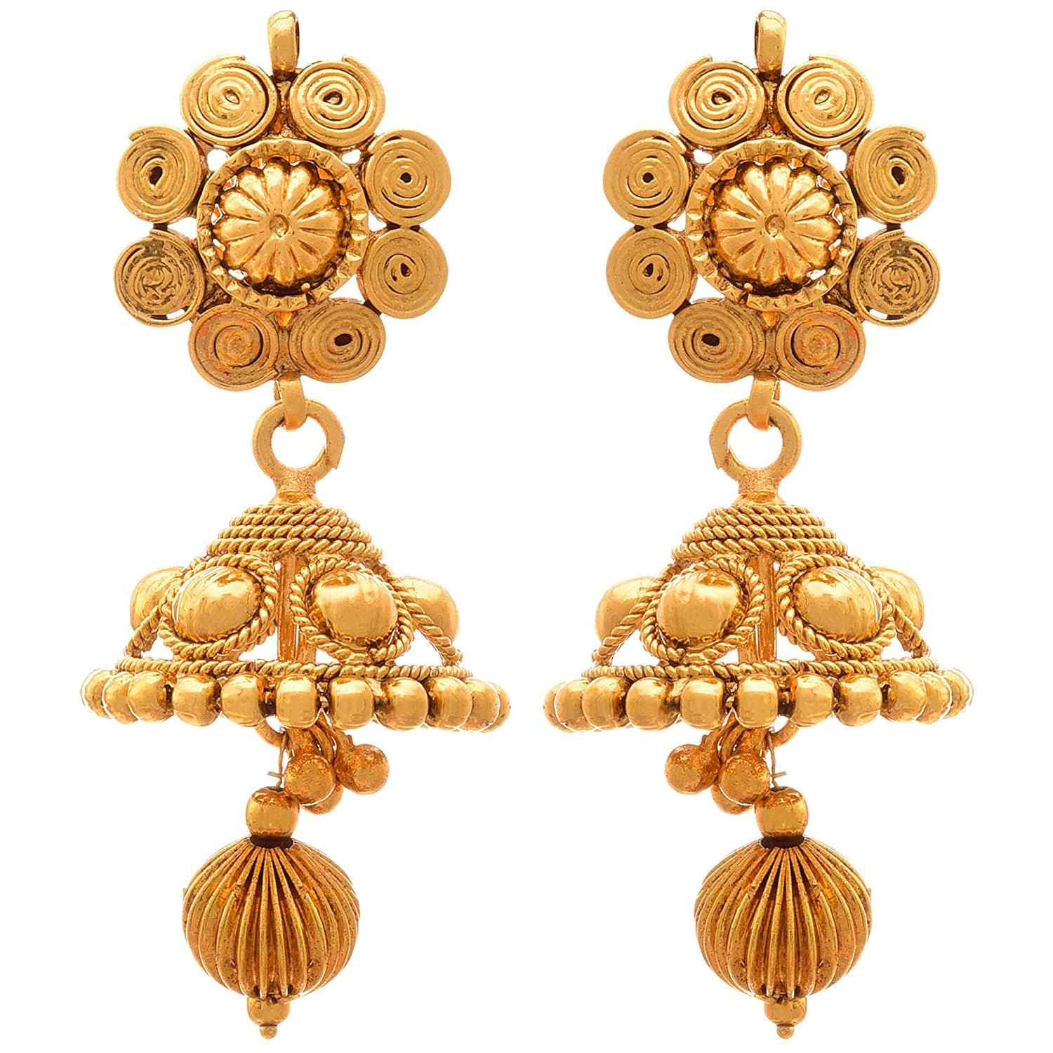 JFL - Jewellery For Less Traditional Ethnic Spiral Floral Flower One Gram Gold Plated Pendant Set With Jhumka Earrings For Women