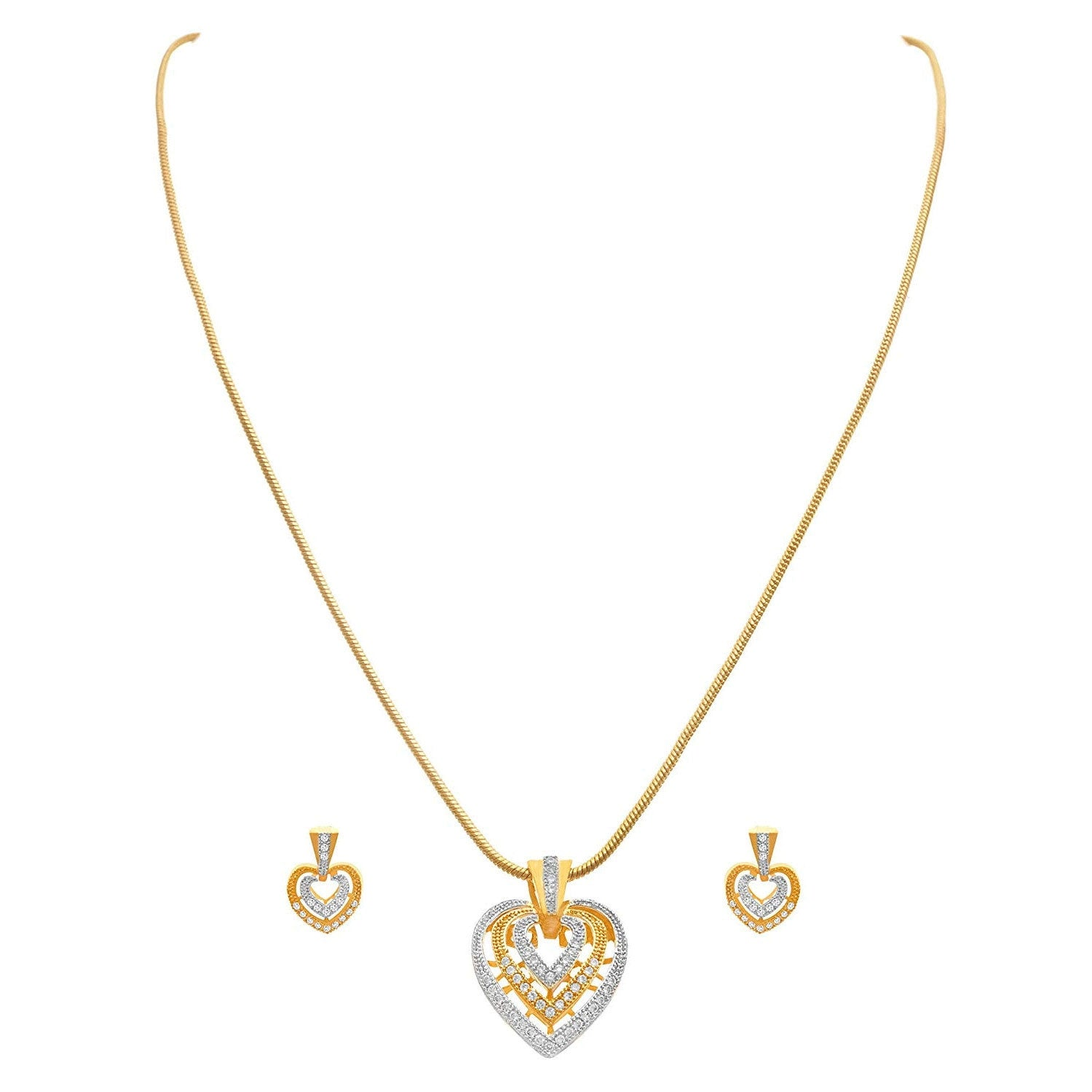 Fusion Ethnic One Gram Gold Plated Cz American Diamond Designer Pendant Set for Women