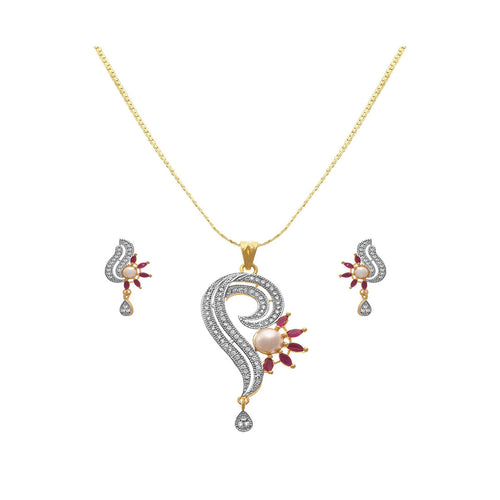 JFL - Jewellery for Less 1 gm Gold Plated CZ American Diamond Pendant Set with Earring for Women