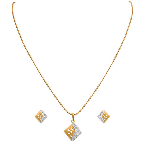 Fusion Ethnic One Gram Gold Plated American Diamond Designer Pendant Set for Women
