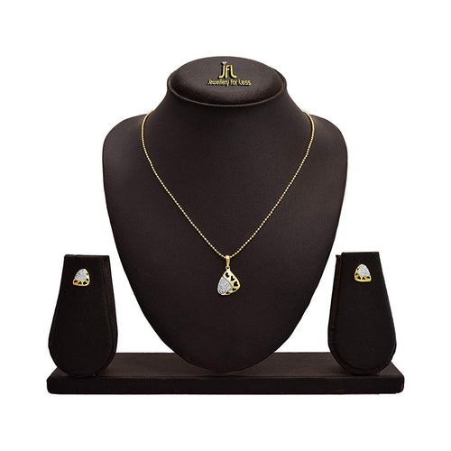JFL - Jewellery for Less Lovely American Diamond Pendant with Chain & Earring Set for Women & Girls