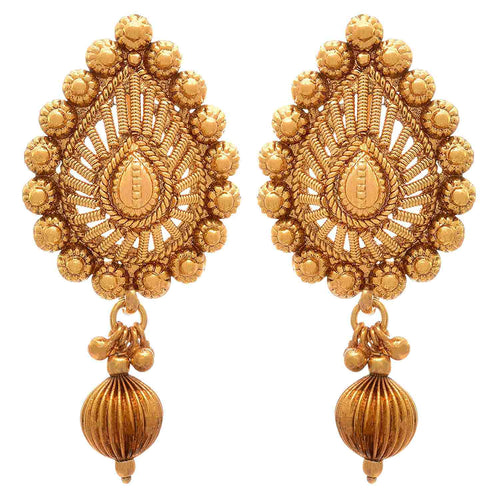 BFC Gold One Gram Gold Plated Pendant Necklace & Earrings Set For Women