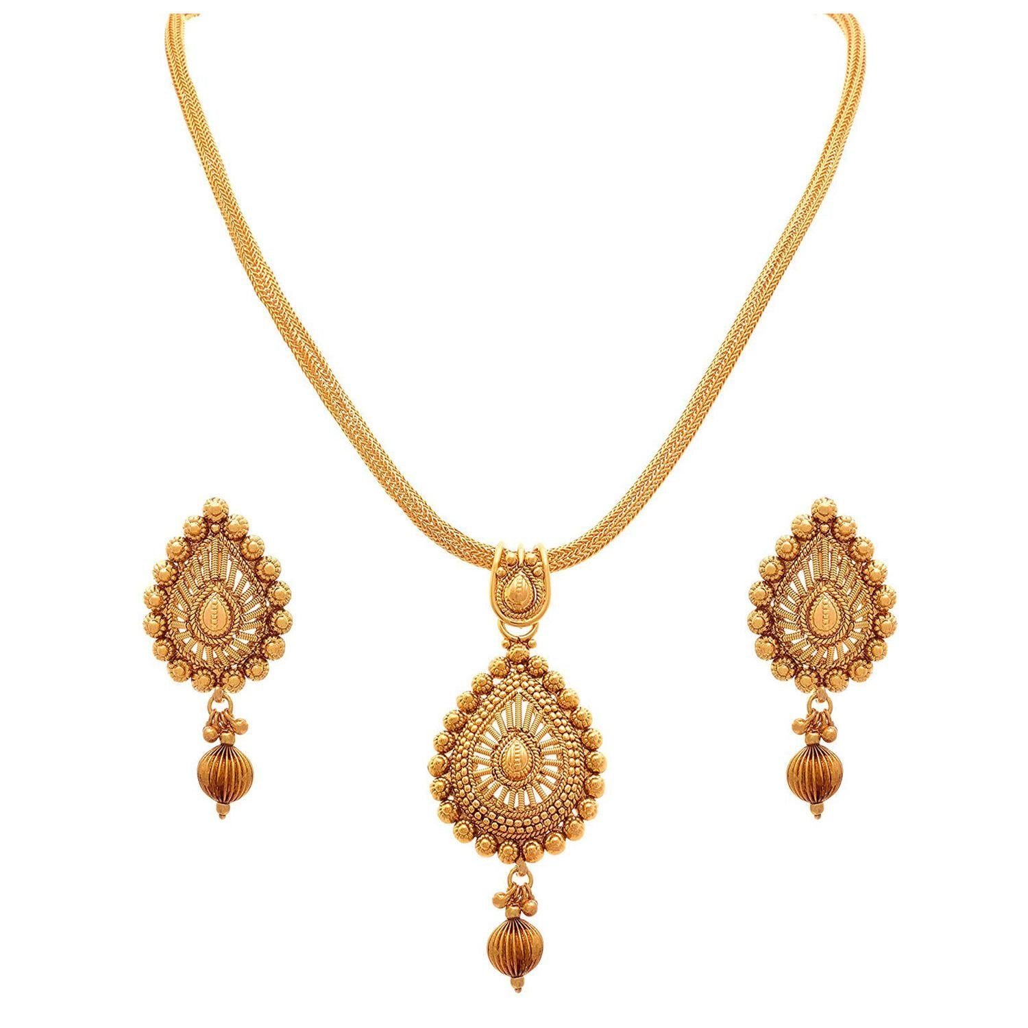 Traditional Ethnic Drop Shape One Gram Gold Plated Pendant Set For Women