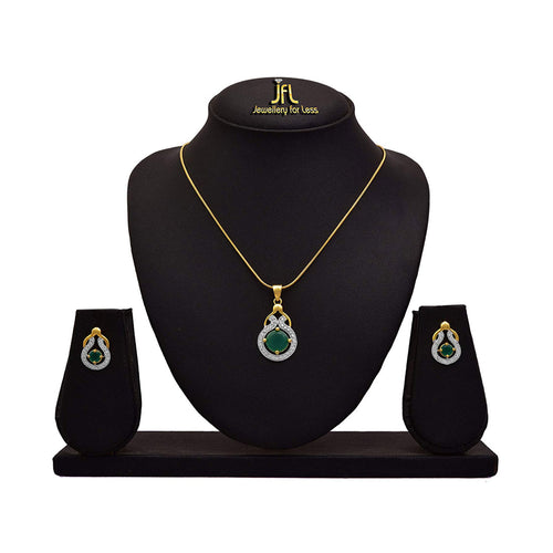 JFL One Gram Gold Plated Cz American Diamond Pendant Set for Women & Girls.