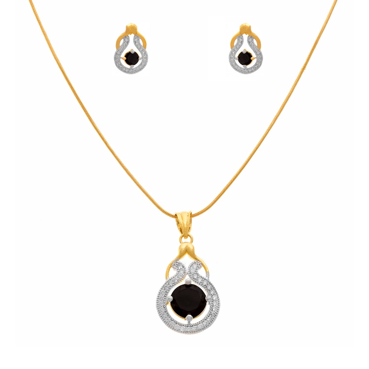 JFL - Stylish Ethnic One Gram Gold Plated Cz American Diamond Stone Designer Pendant Set for Women & Girls.