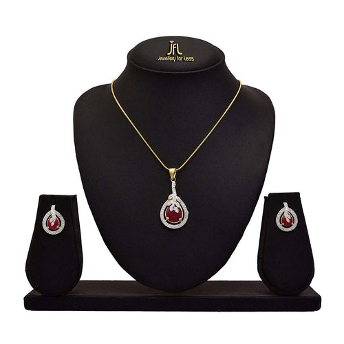 Fusion Ethnic One Gram Gold Plated Cz American Diamond Stone Designer Pendant Set for Women