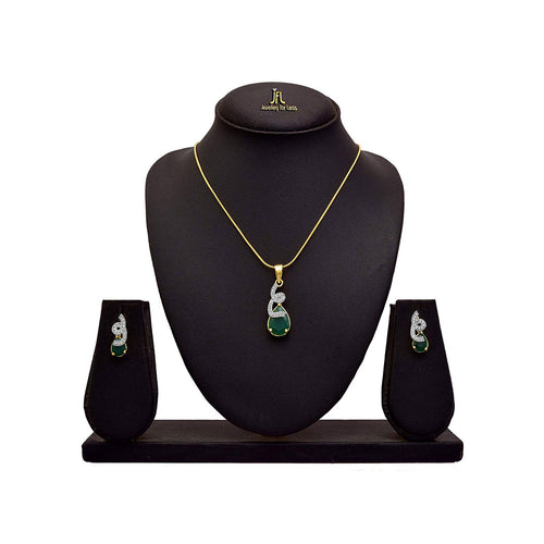 JFL - Jewellery for Less Lovely American Diamond Green Glossy Stone Pendant with Chain & Earring Set for Women & Girls