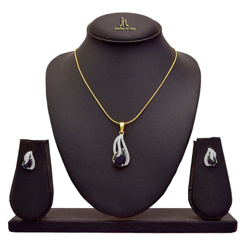 JFL Ethnic One Gram Gold Plated CZ American Diamond Stone Designer Pendant Set for Women & Girls.