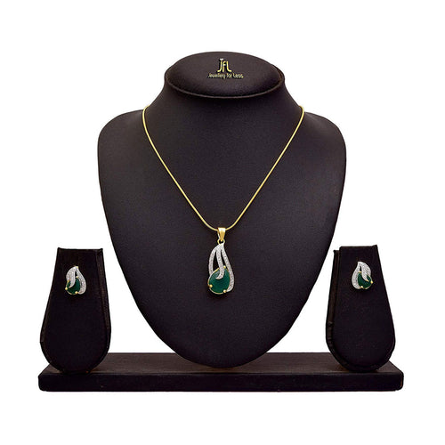 JFL - Jewellery for Less Lovely American Diamond Glossy Stone Pendant with Chain & Earring Set for Women & Girls