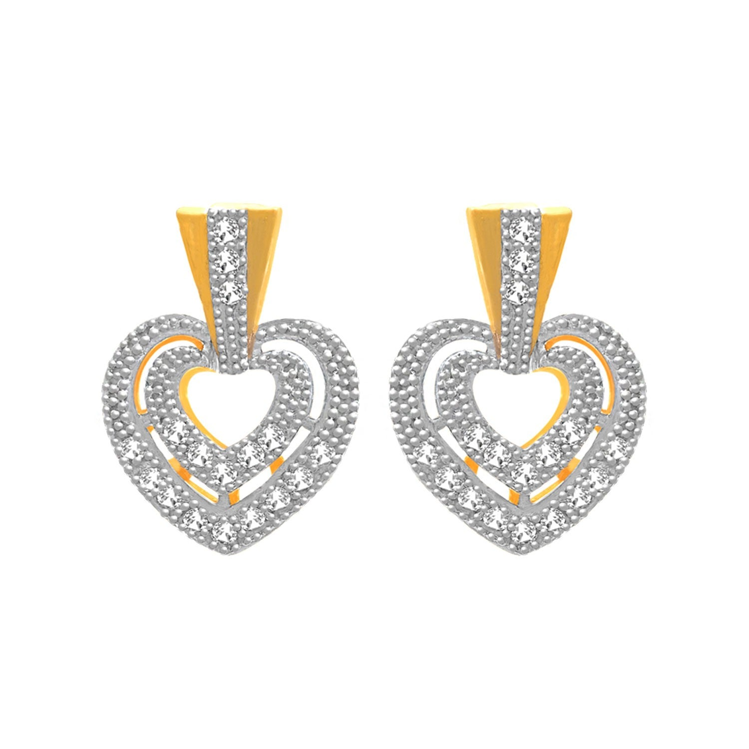 JFL - Fusion Ethnic One Gram Gold Plated Cz American Diamond Designer Pendant Set for Women & Girls.