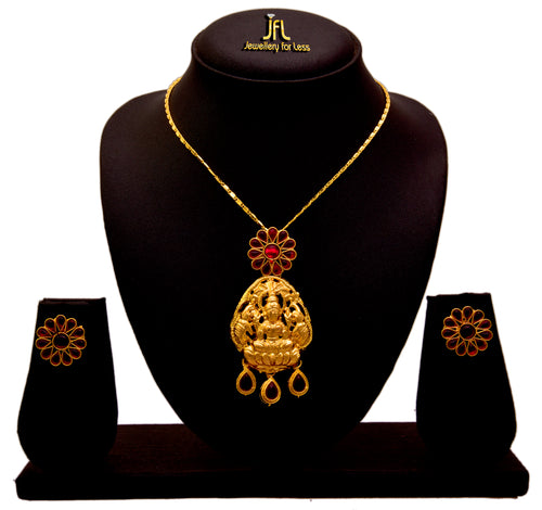 JFL - Traditional Ethnic Temple One Gram Gold Plated Goddess Mahalaxmi Floral Ruby Red Designer Pendant Set for Girls & Women