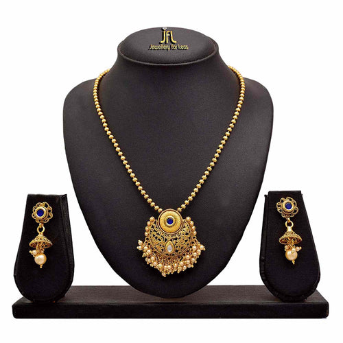 JFL - Traditional Ethnic One Gram Gold Plated Champagne LCD Pearl Kundan Designer Pandant Set with Earring for Women & Girls