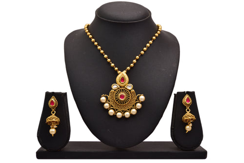 JFL - Jewellery for Less Beautiful Pearl Embeded Pendant with Bead Ball Chain & Earring Set for Women & Girls