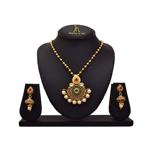 JFL - Traditional Ethnic One Gram Gold Plated Pearl Real Kundan Designer Pendant Set with Jhumka Earring for Women & Girls