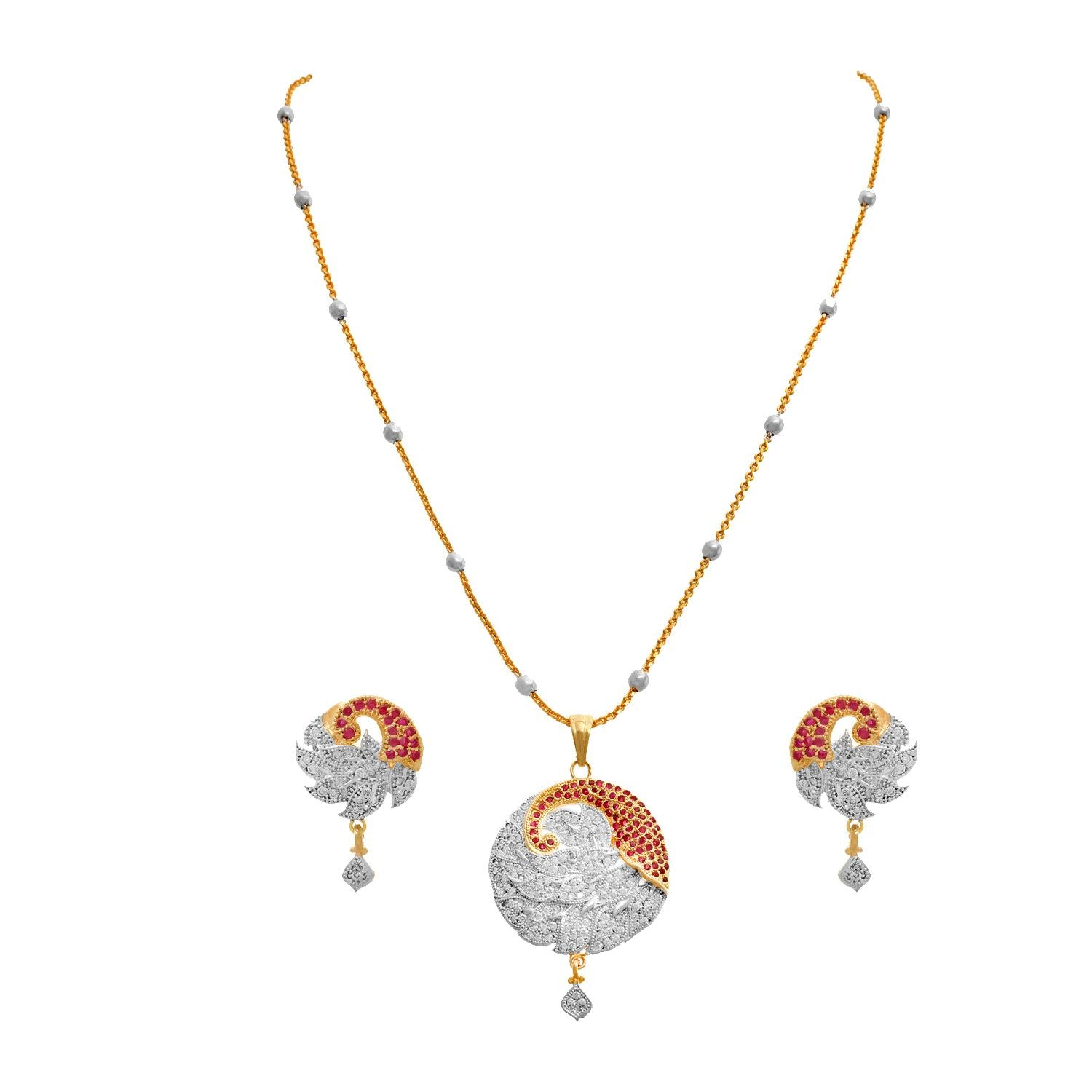JFL - Jewellery for Less One Gram Gold Plated Cz American Diamond Peacock Designer Pendant Set for Women