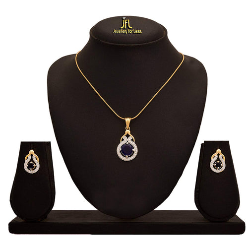 JFL - Stylish One Gram Gold Plated Cz American Diamond Pendant Set for Women & Girls.