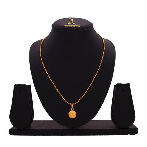 JFL- Jewellery For Less Traditional Ethnic One Gram Gold Plated Designer  Pendant With Bead Chain  For Girls & Women