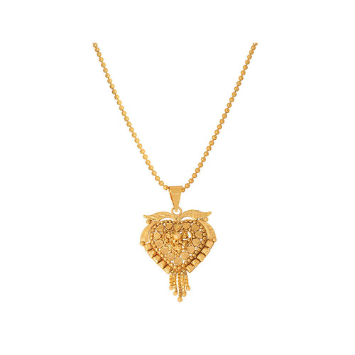JFL - Jewellery for Less 1 gm Gold Plated Heart Shape Pendant with Chain for Women & Girls