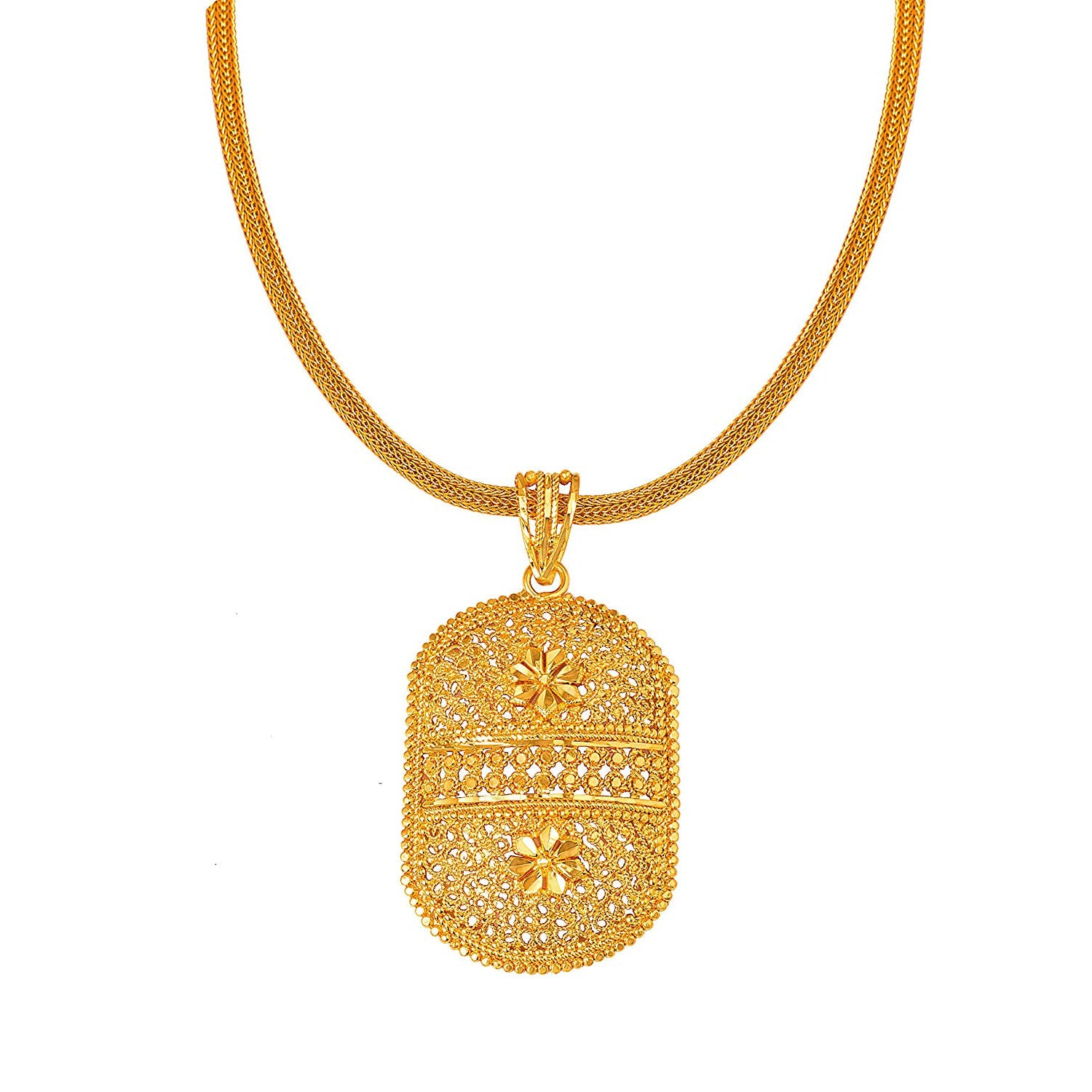 JFL-Traditional Ethnic One Gram Gold Plated Designer Pendant for Women & Girls.