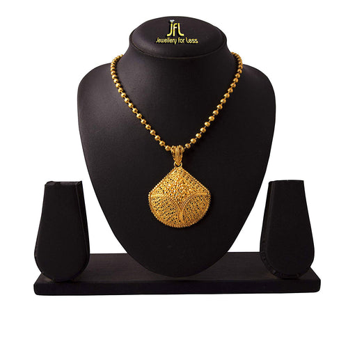JFL - Jewellery For Less Ethnic One Gm Gold Plated Design Pendant With Beads Chain For Women