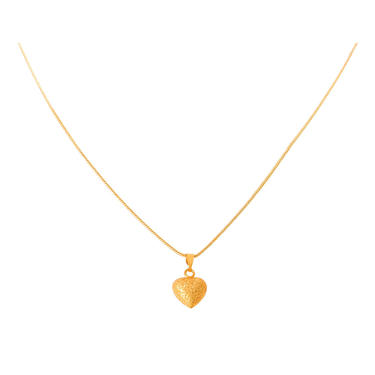 JFL- Jewellery For Less Traditional Ethnic One Gram Gold Plated  Heart Shape Pendant Set For Women