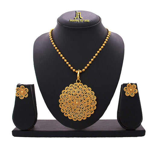 JFL- Filigree Floral Traditional One Gram Gold Plated Floral Pendant Set with Delicate Jali Work for Women and Girls