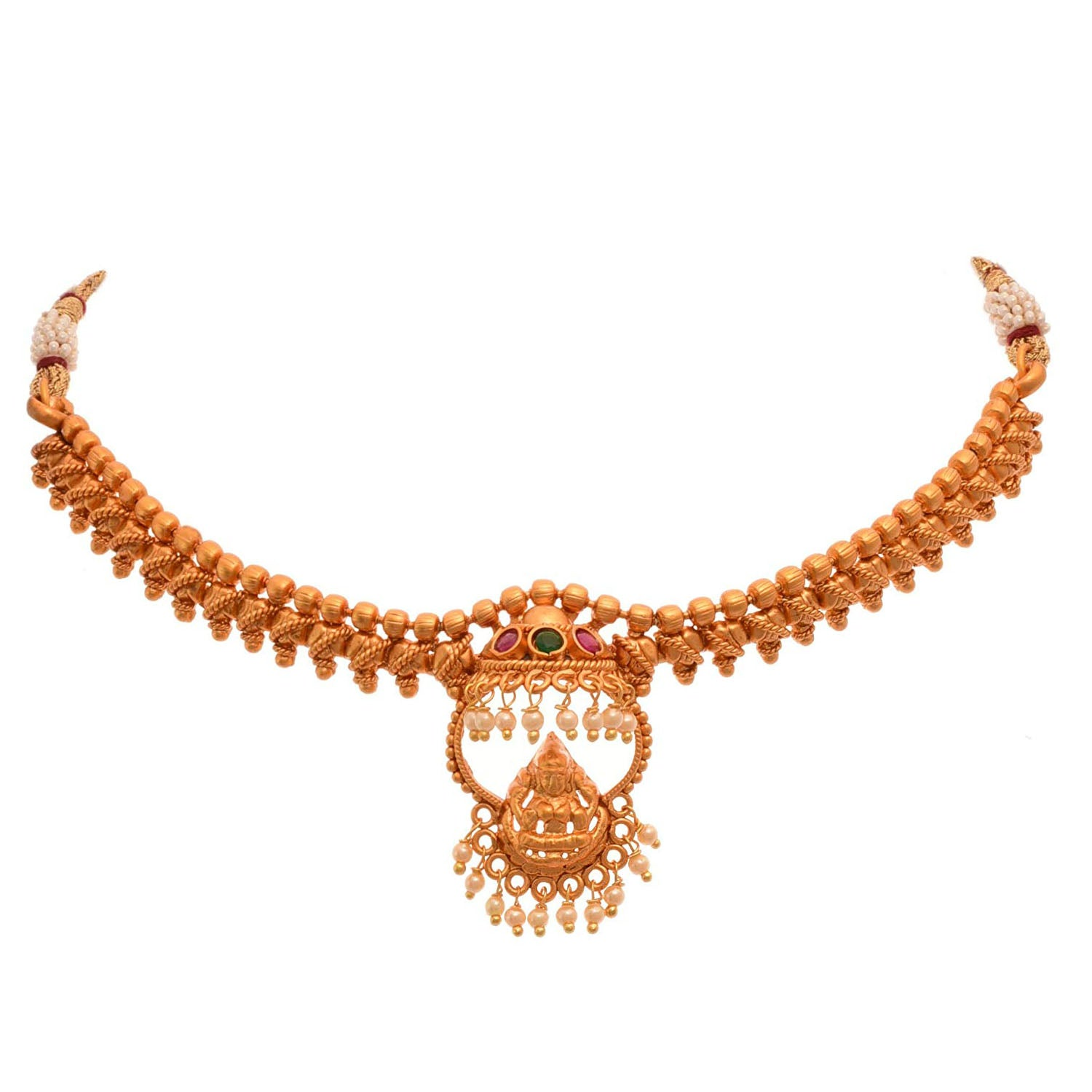 Traditional Ethnic Temple Laxmi Goddess One Gram Matt Gold Plated Bajuband/Armlet with Stone & Pearls for Women & Girls.