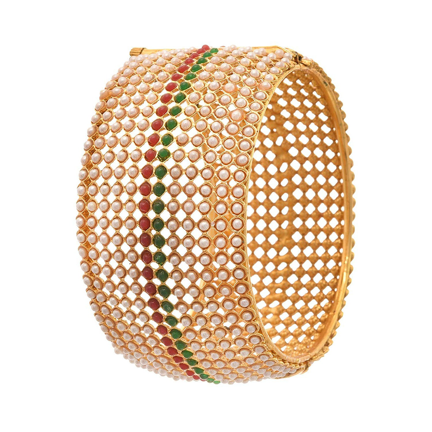 JFL - Jewellery for Less 1g Gold Plated Pearls Designer Openable Bangle/Kada for Women