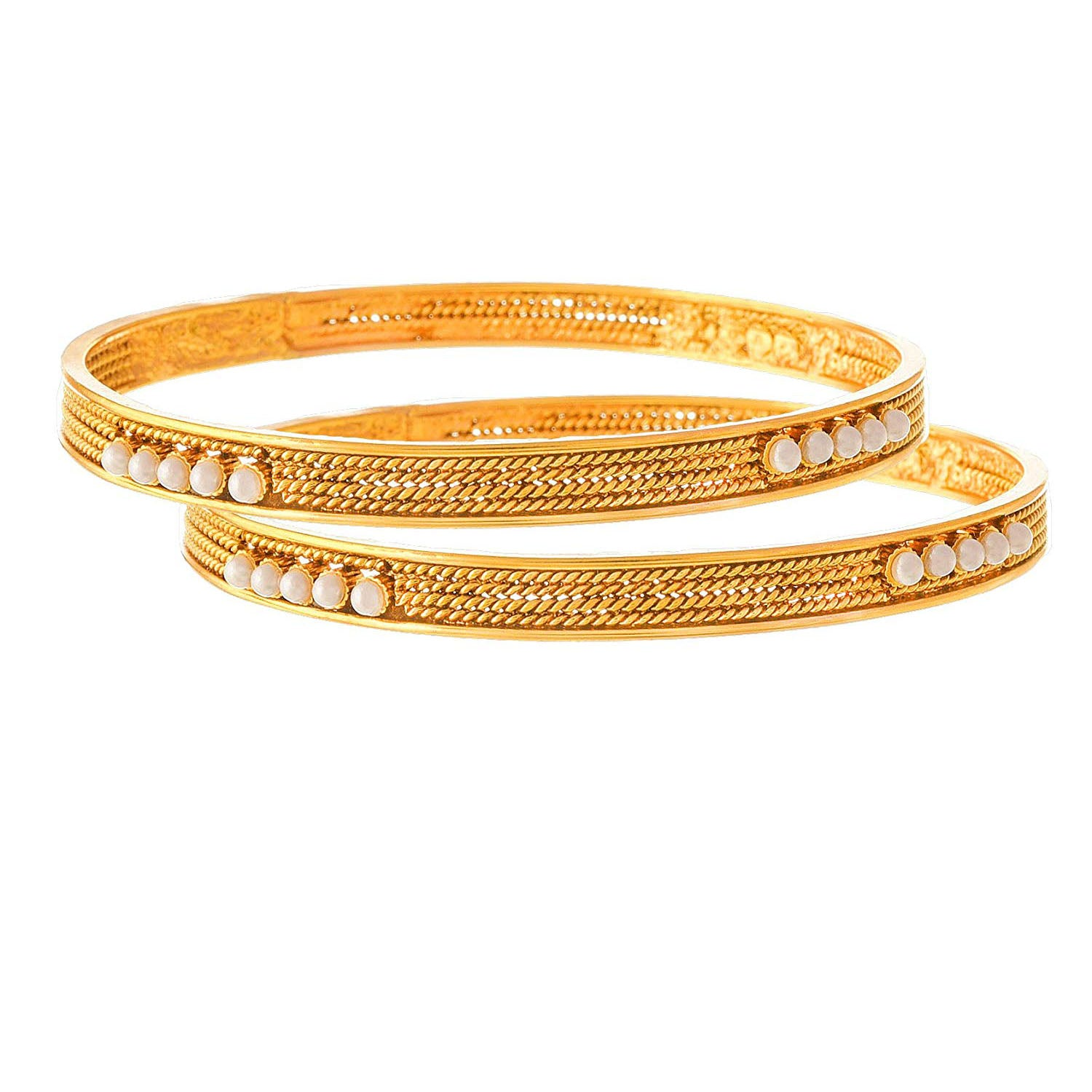 Traditional Ethnic One Gram Gold Plated Pearl Designer Bangle for Women & Girls.
