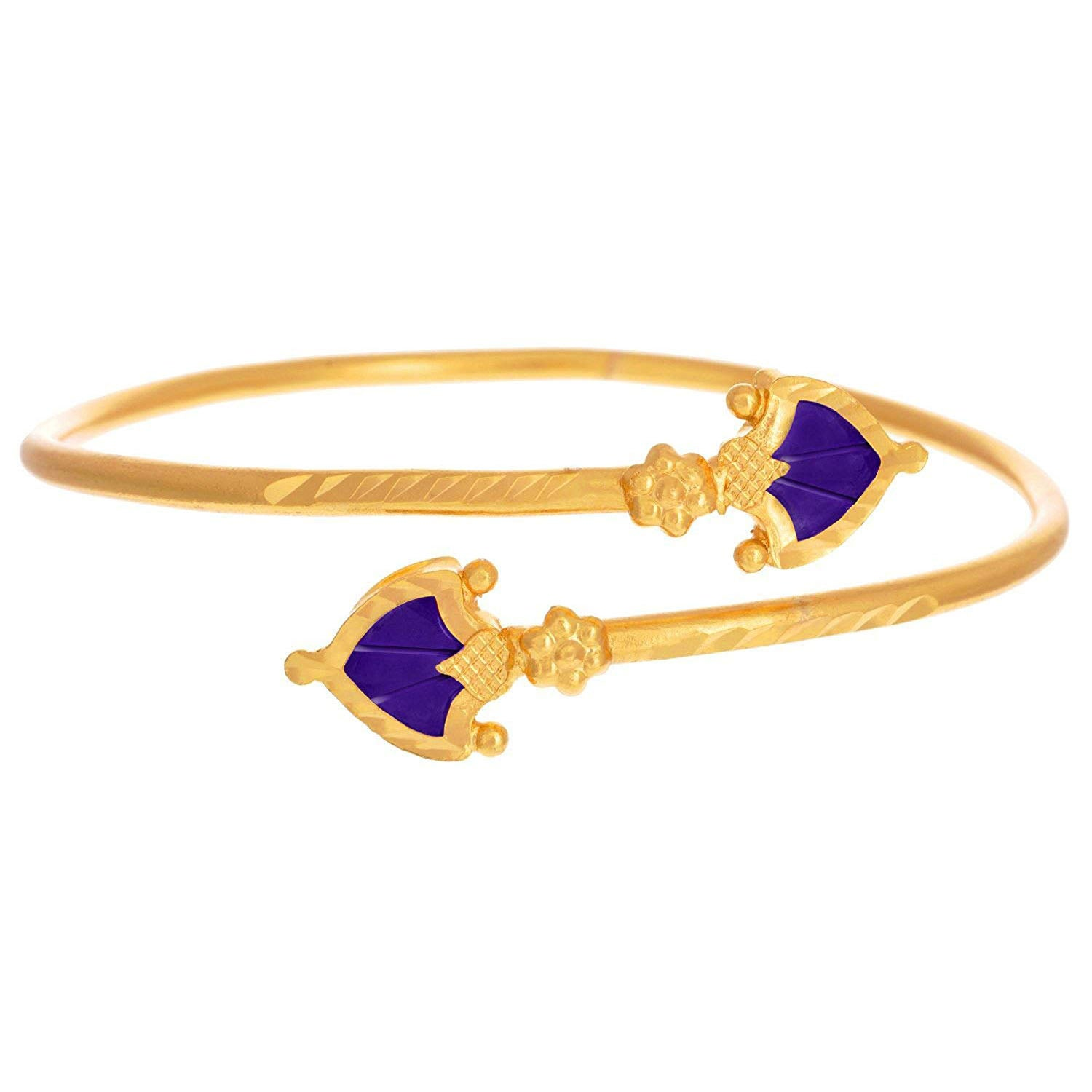 JFL - Jewellery for Less Traditional One Gm Gold Plated Blue Meenakari Designer Kada (Adjustable) for Women