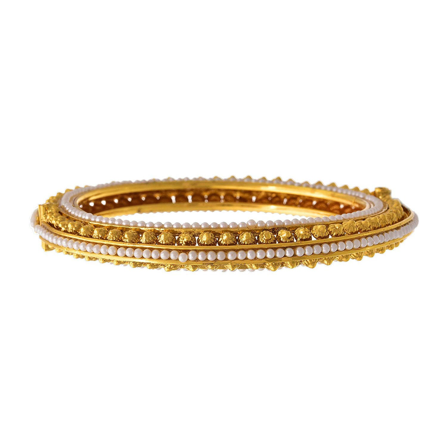 JFL-Jewellery For Less Traditional Ethnic One Gram Glod Plated Pearls Designer Openable Bangle Set For Women