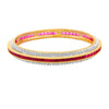 Traditional Ethnic One Gram Gold Plated Cz American Diamond with Ruby Designer Bangle Set for Women & Girls.