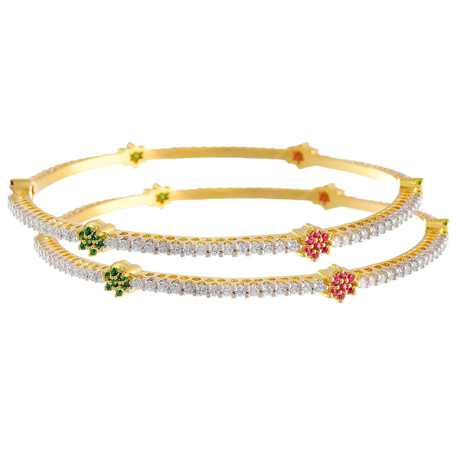 JFL -Traditional Ethnic One Gram Gold Plated Cz American Diamond Pink Green Designer Bangle for Women & Girls
