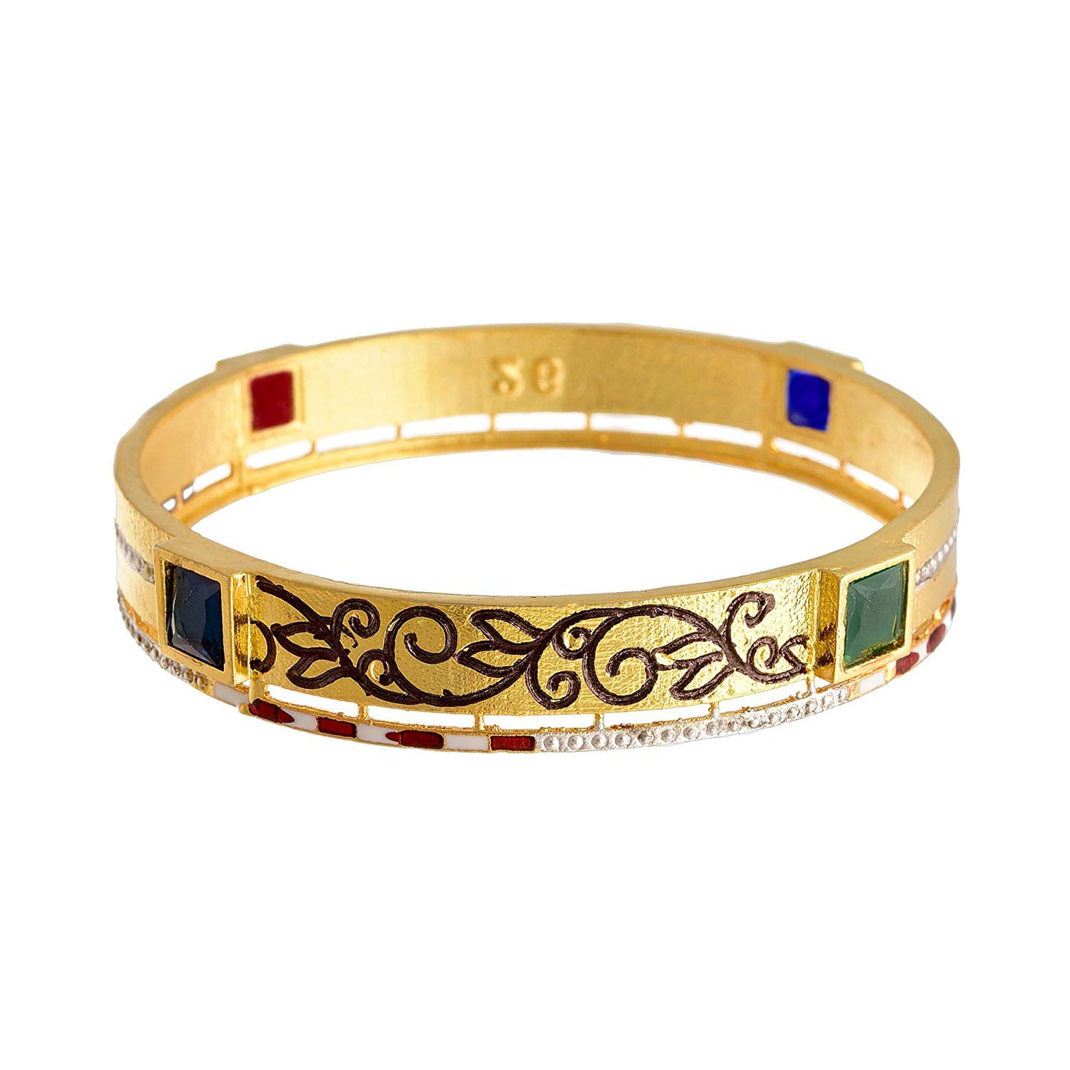 Traditional Ethnic One Gram Gold Plated Stone Designer Bangle for Women & Girls.