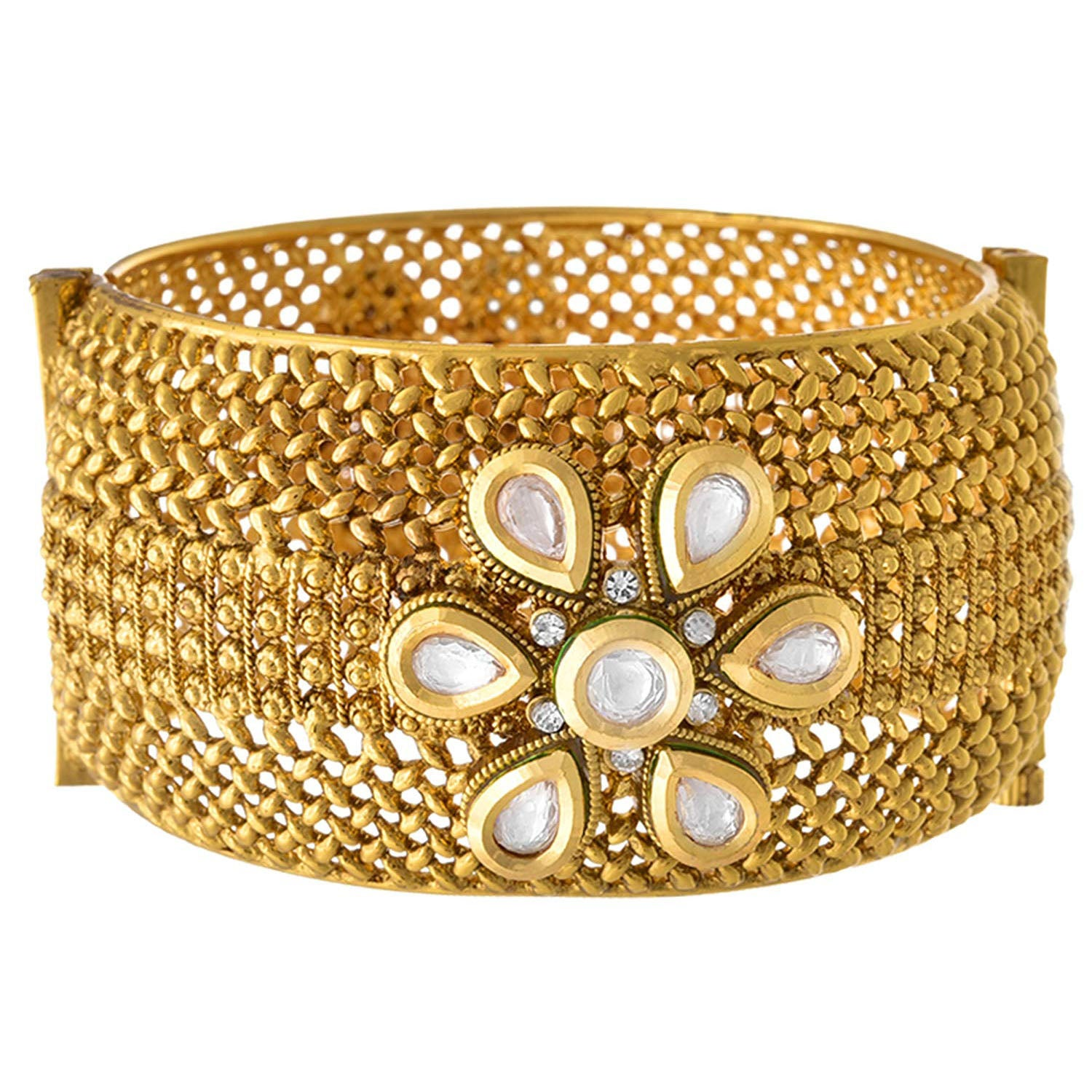 JFL - Traditional Ethnic One Gram Gold Plated Kundan Designer Openable Kada for Girls & Women