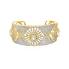 Fusion & Ethnic One Gram Gold Plated Cz American Diamond Adjustable Broad Kada for Girls & Women