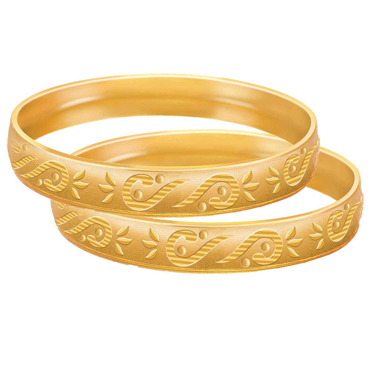 Jewellery for Less Traditional Ethnic One Gm Matt Gold Plated Floral Bangle Set for Women