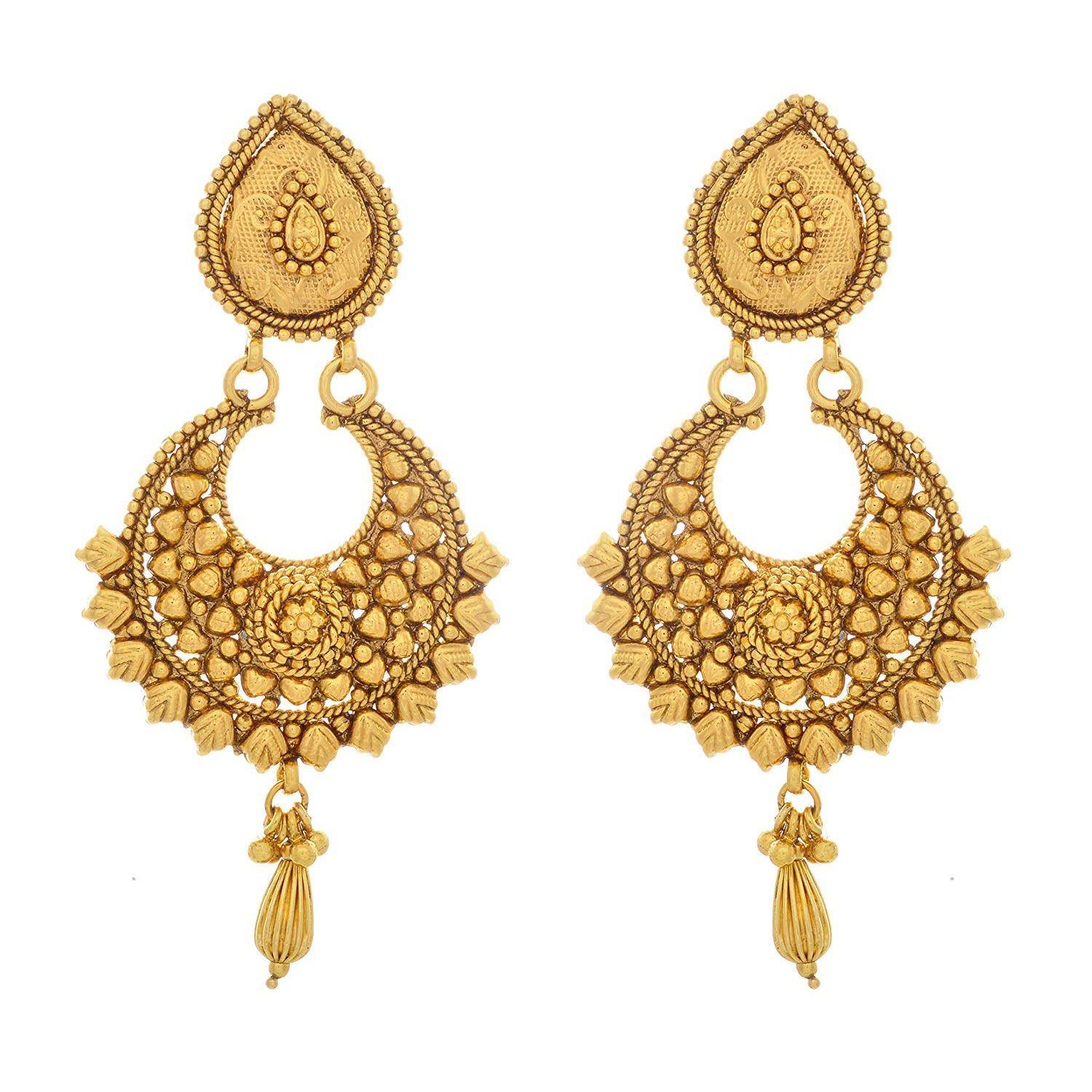 Traditional Ethnic One Gram Gold Plated Earrings For Women And Girls.