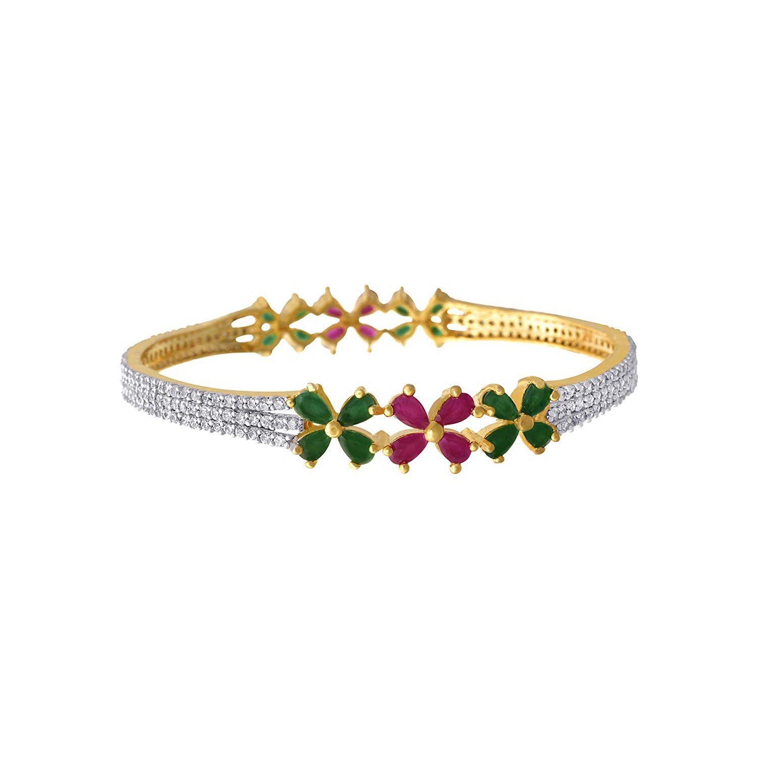 JFL- Traditional & Fusion Ruby Red Emerald Green One Gram Gold Plated Cz American Diamond Fashion Designer Bangle Set For Women