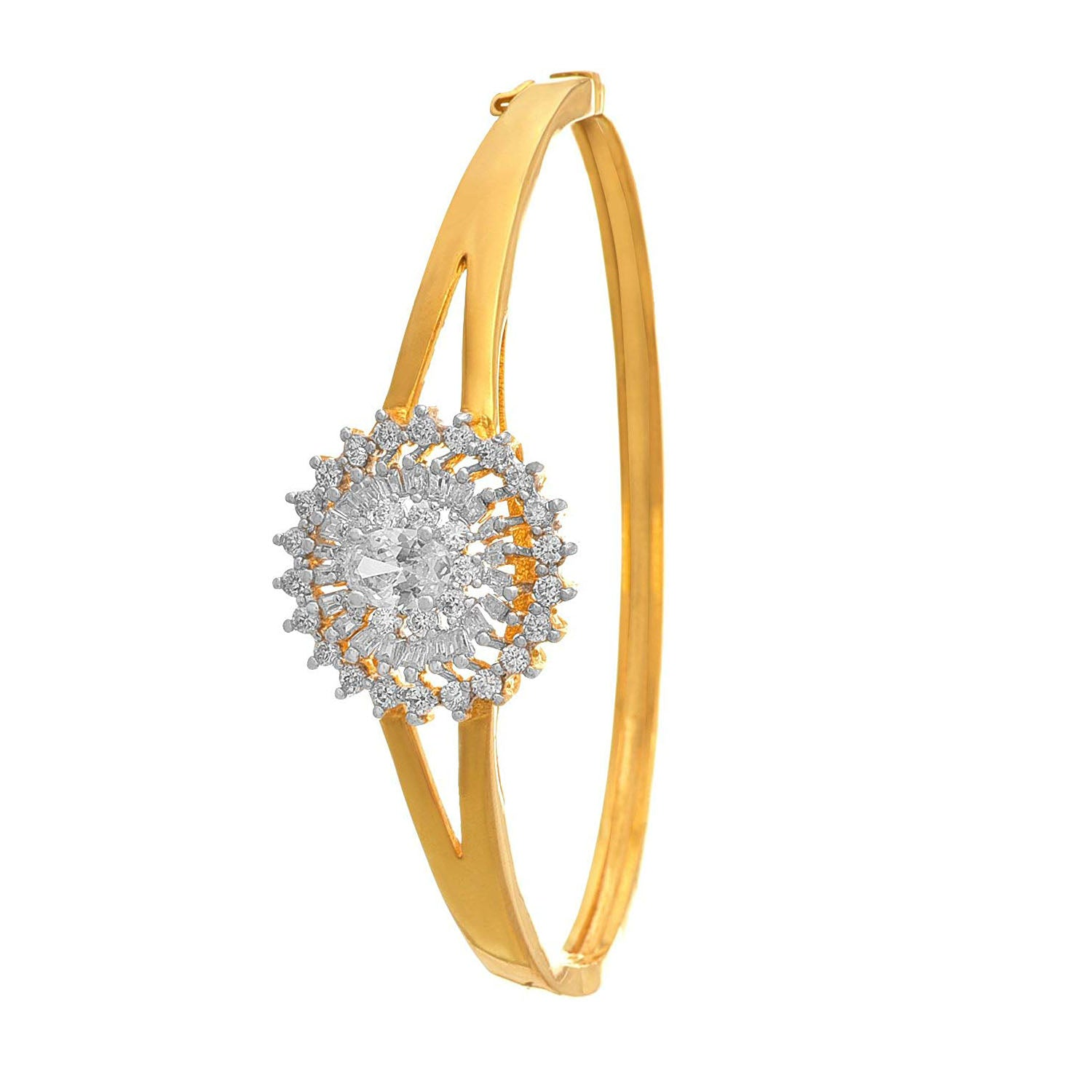 Traditional Ethnic One Gram Gold Plated Cz American Diamond Designer Openable Kada for Women & Girls