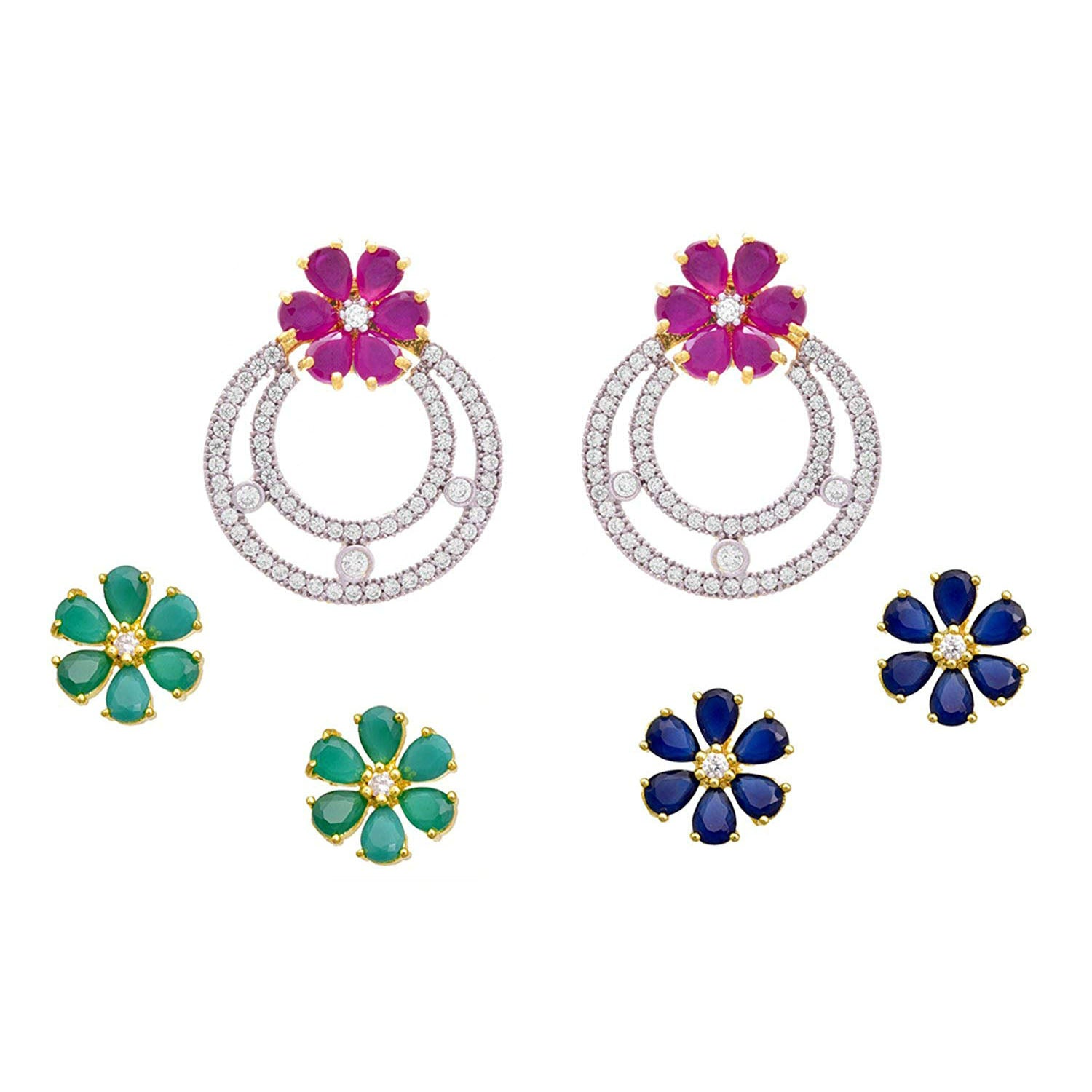 Fusion Fab Floral Cz American Diamond Three in One Changeable One Gram Gold Plated Flower Pink, Green, Blue Designer Earrings Women and Girls