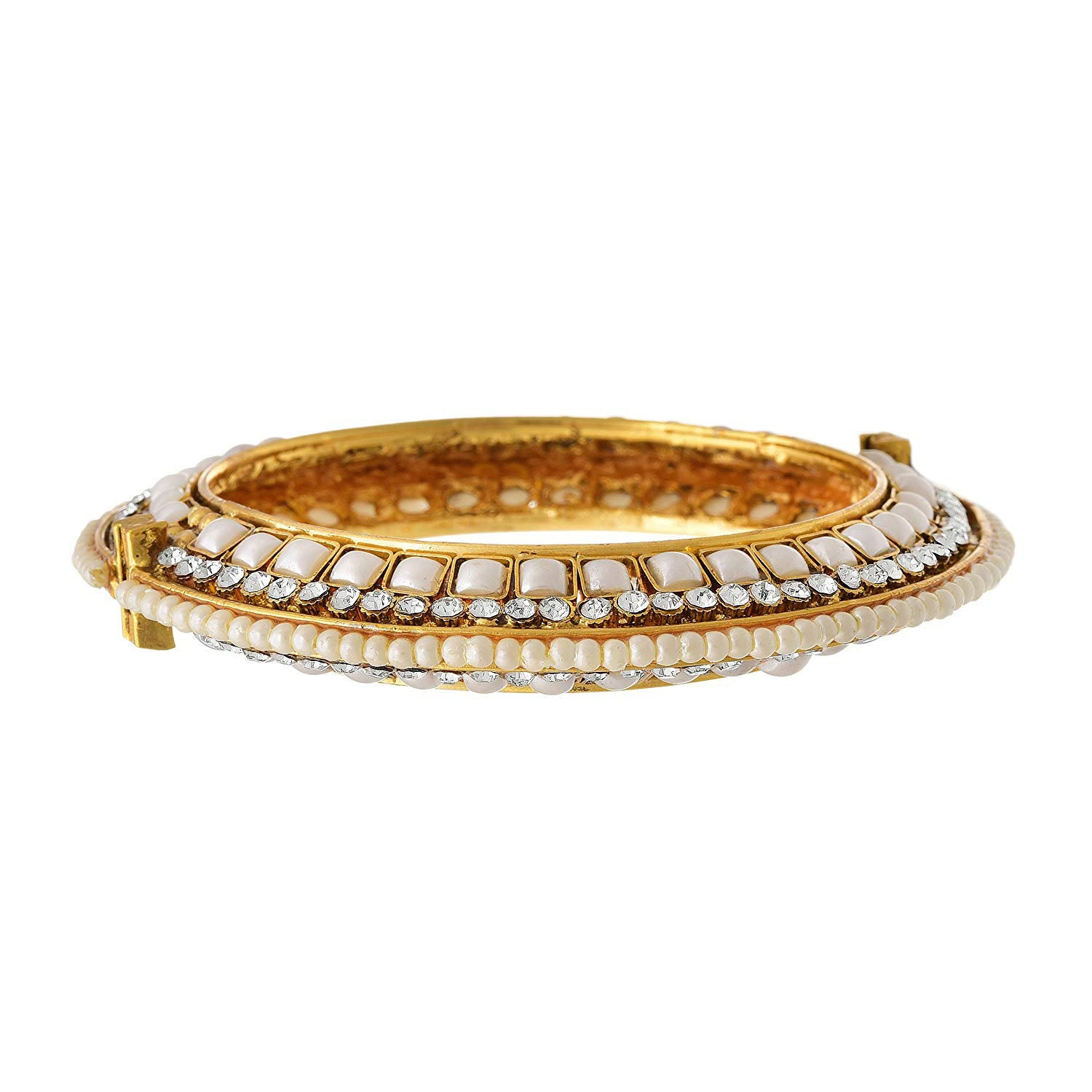 Traditional & Ethnic One Gram Gold Plated Pearl & Austrian Diamond Bangle for Girls & Women