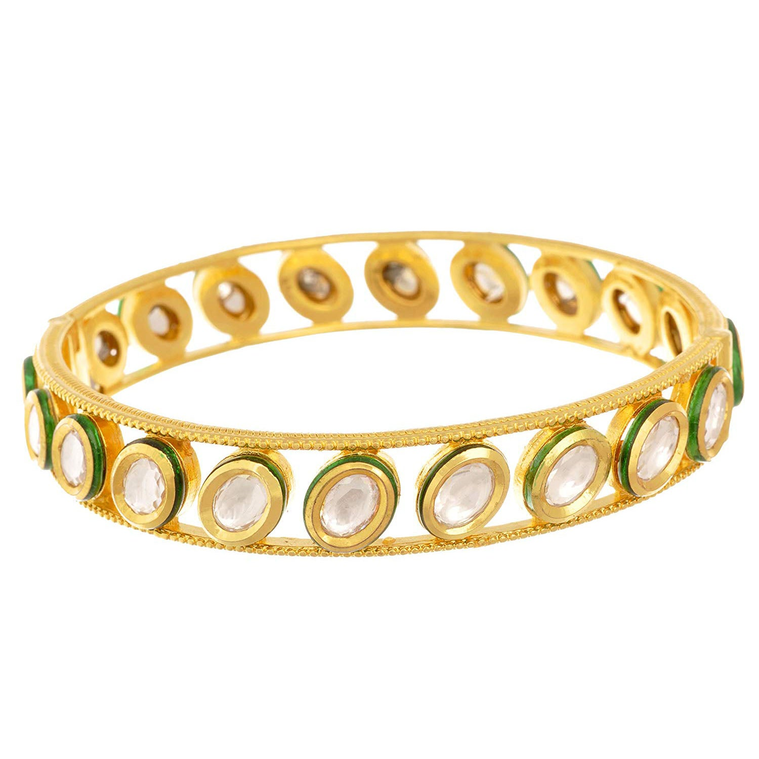 Traditional Ethnic One Gram Gold Plated Real Kundan Designer Bangle for Girls & Women
