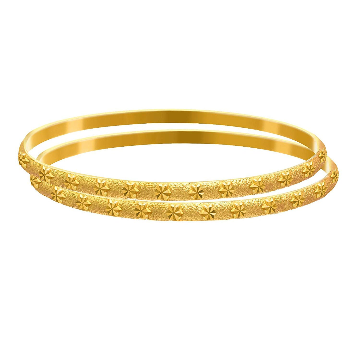 Jewellery for Less Gold Plated Traditional Ethnic One Gm Micron Matt Bangle Set for Women