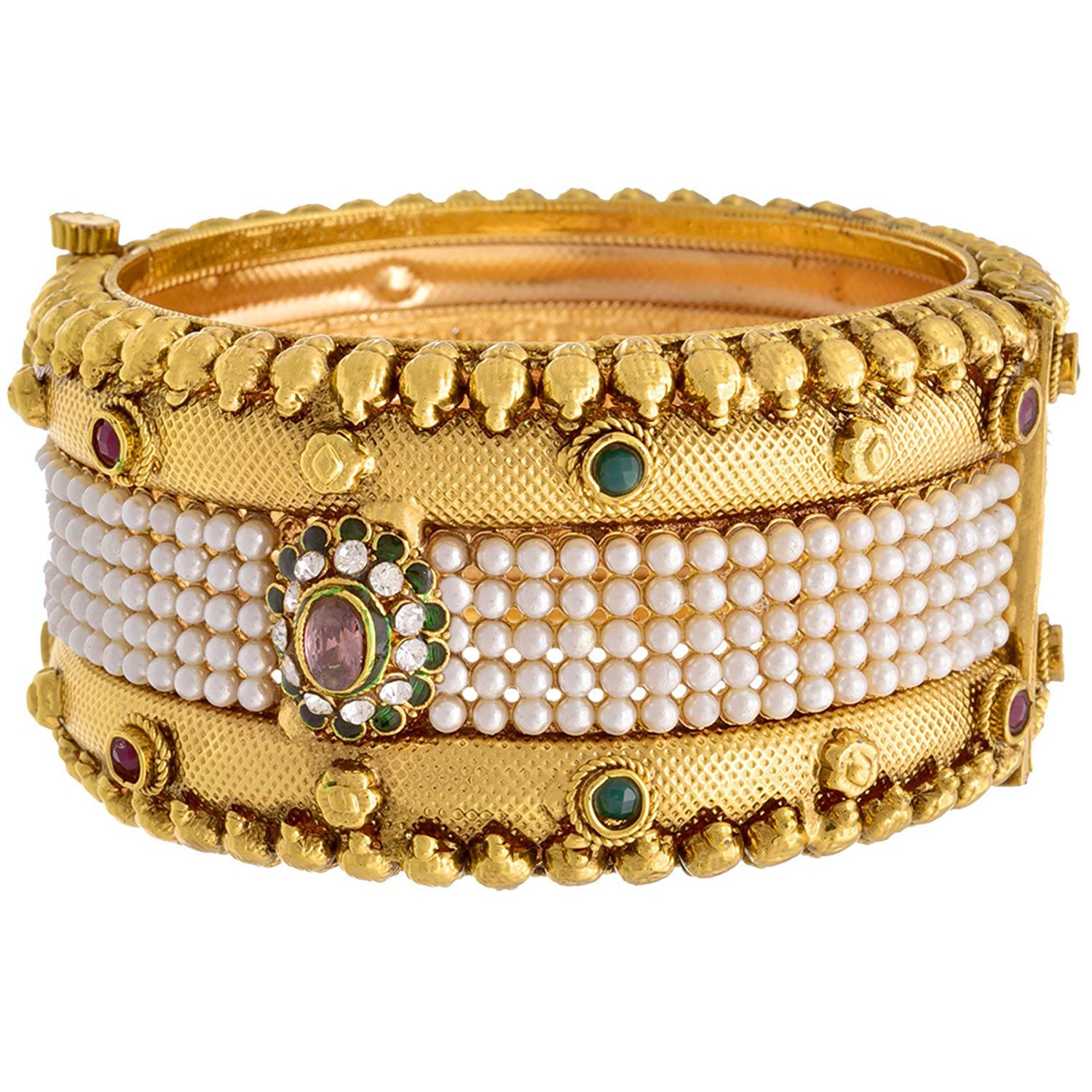 2570de7a5ed43 JFL -Traditional & Ethnic One Gram Gold Plated Broad Pearl Red and ...