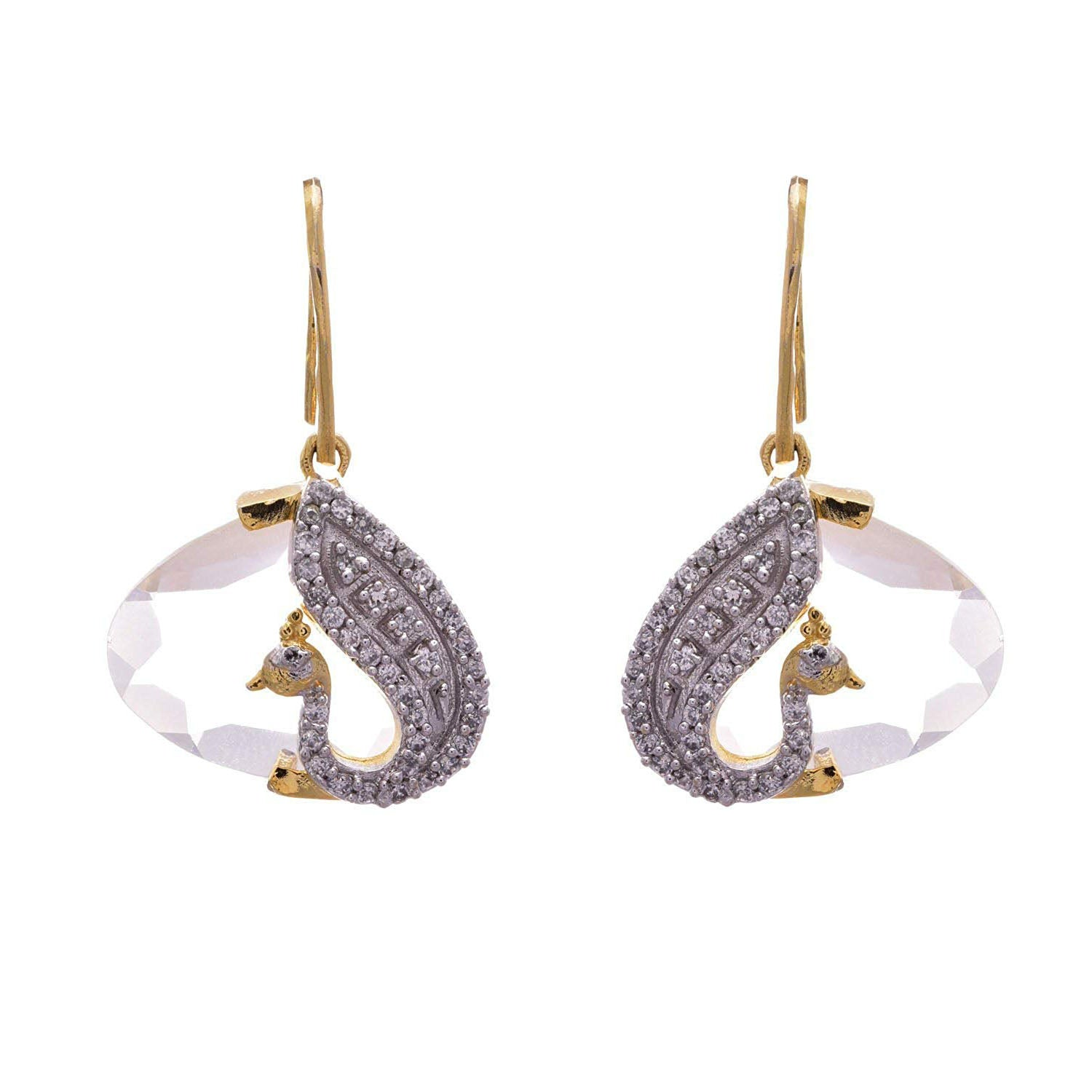 Traditional Ethnic One Gram Gold Plated Peacock Cz American Diamond Designer Earring for Women and Girls.