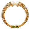 Irresistible Red & Green One Gram Gold Plated Designer Openable Kada with White Diamonds for Women