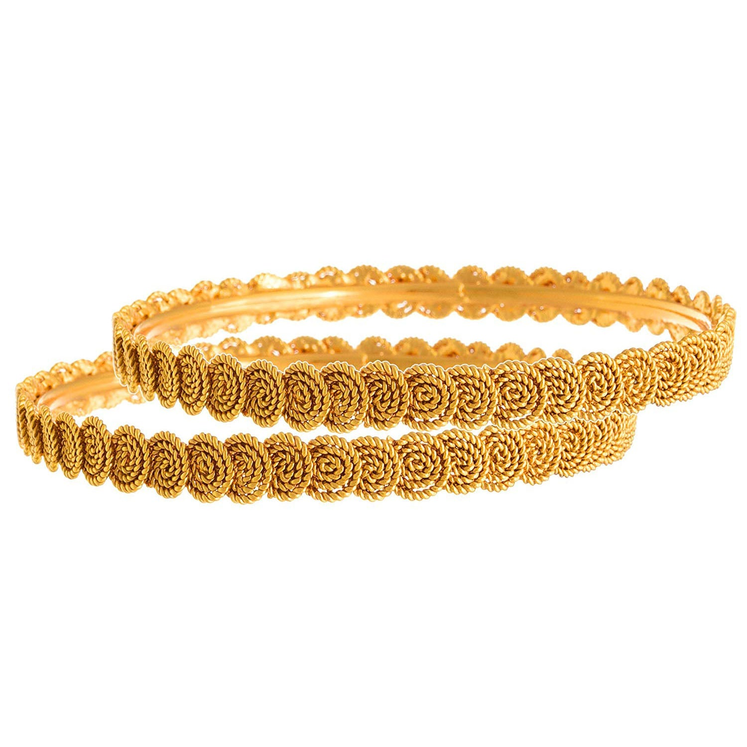 Jewellery for Less Traditional Ethnic 1g-Gold Plated Spiral Designer Bangles for Women